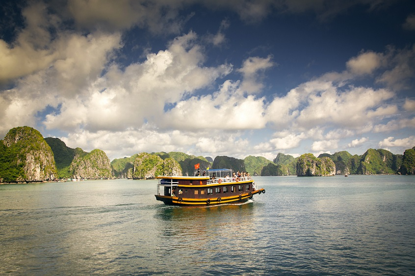 Tourist junks in amazing Ha Long bay on a sunny day