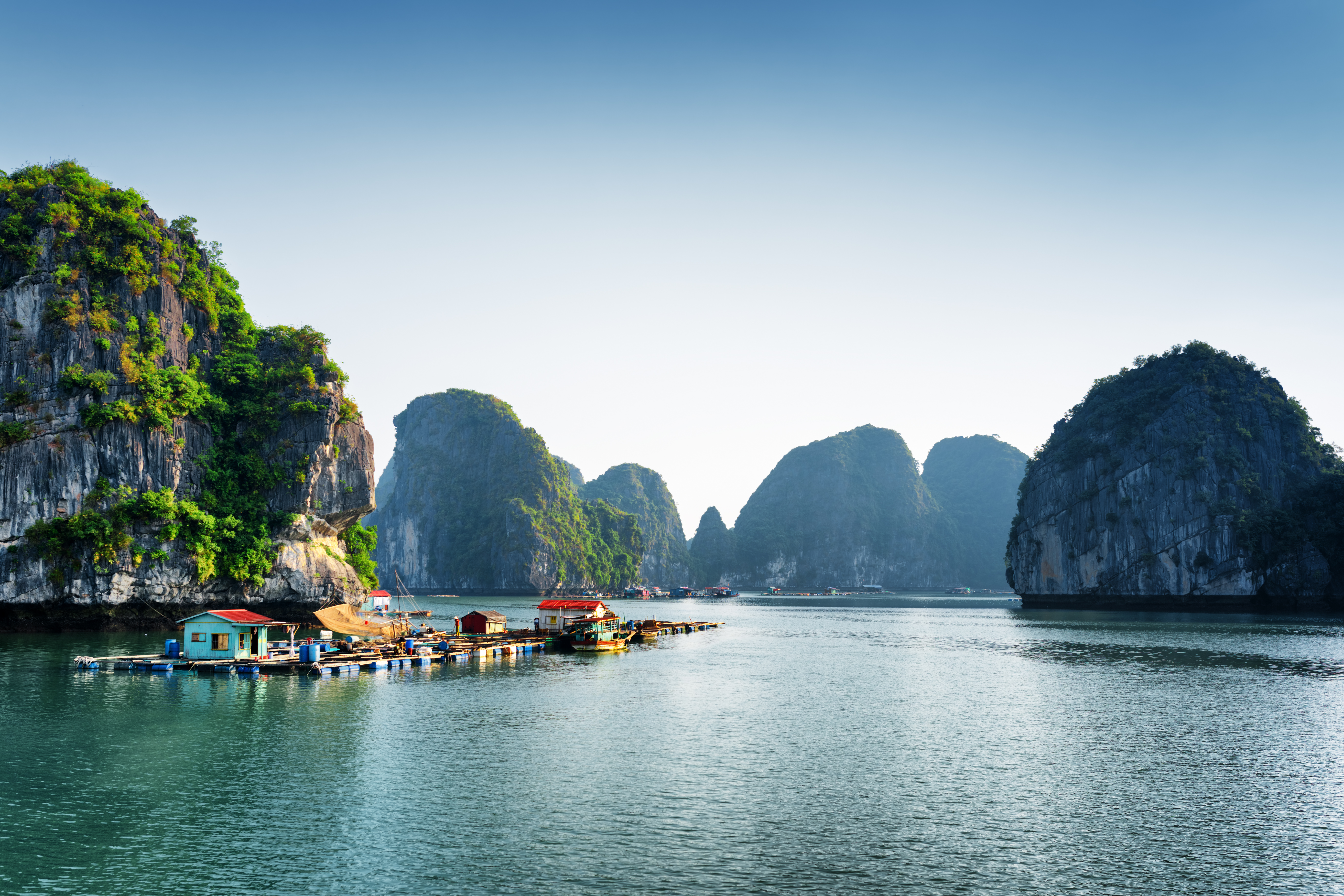 A view of floating fishing village in the Halong Bay