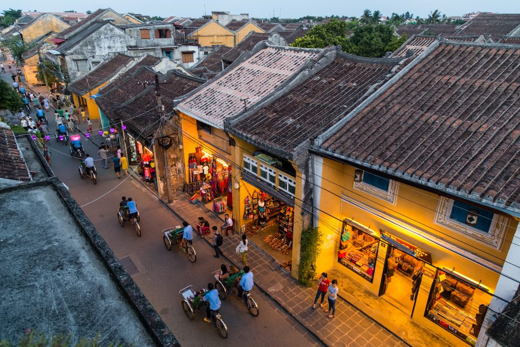 People walking on the streets of old town Hoi An, Vietnam